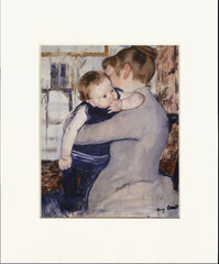 "Baby in Dark Blue Suit, Looking Over His Mother's Shoulder 11"" x 14""  Matted Print"