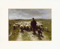 "Shepherd and Sheep 11"" x 14""  Matted Print"