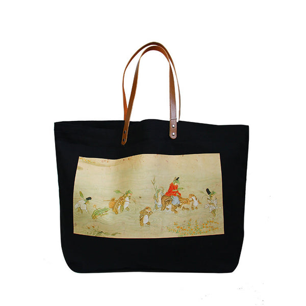 Animal Story Scroll Tote Bag
