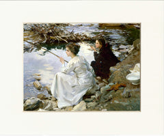 "Two Girls Fishing 11"" x 14""  Matted Print"