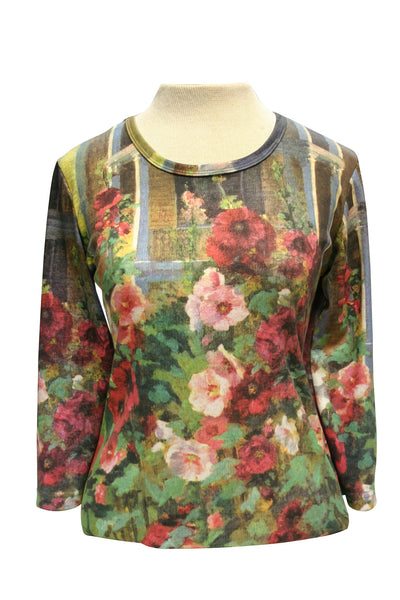 Hollyhocks Art in Bloom Women's Shirt
