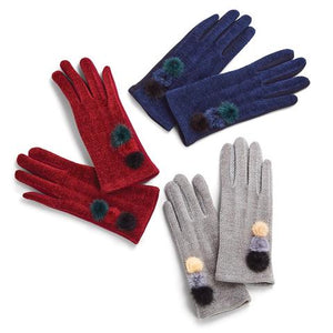 Chenille Gloves with Pom Poms and Touchscreen Gloves