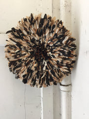 Small Guinea Fowl Feathered Headdress made in Cameroon