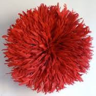 Small Red Feathered Headdress made in Cameroon