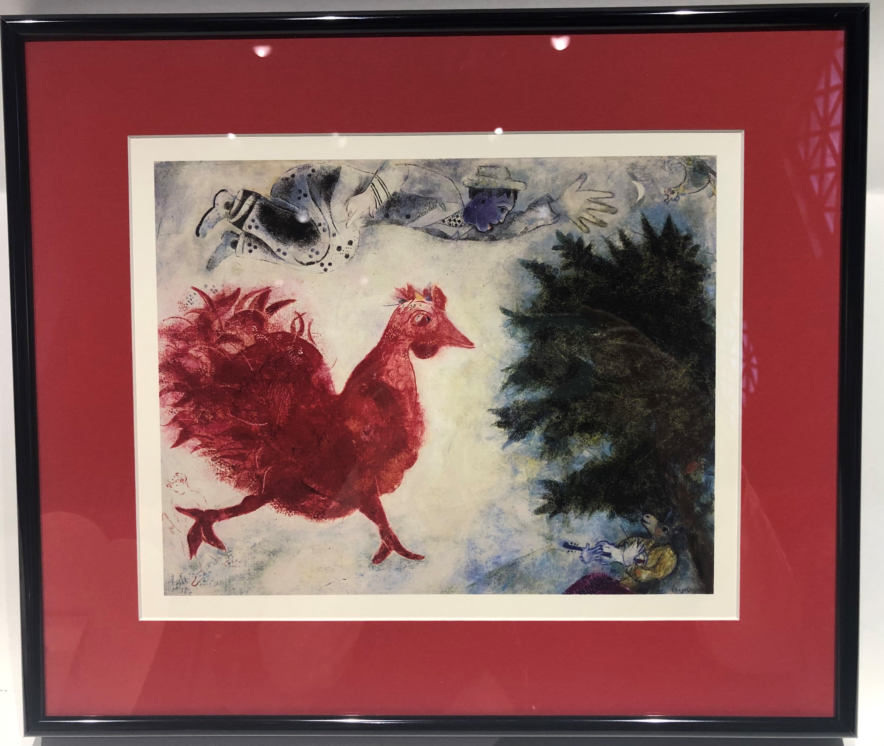 The Red Rooster by Chagall Framed