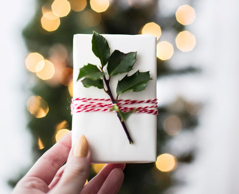 eco friendly christmas wrapped present in front of christmas tree