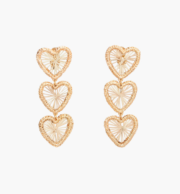 Three Golden Hearts Earrings - Boho Hunter