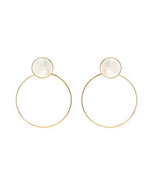 Kan Earring White Mother Pearl Gold