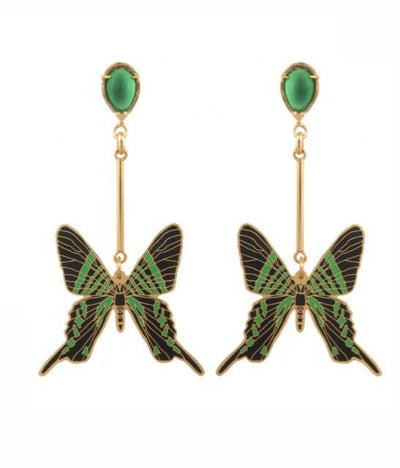 Hanging Urania Butterfly Earrings Green