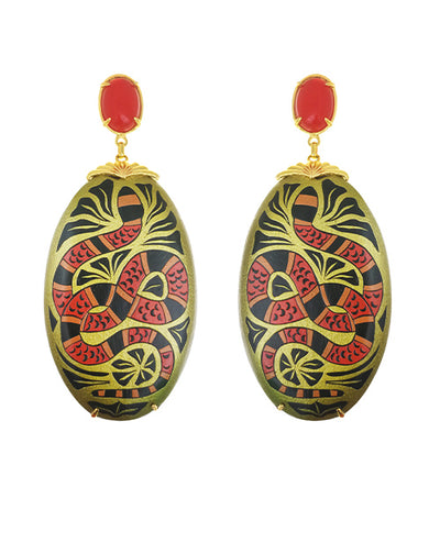 Mopa Coral Snakes Earrings