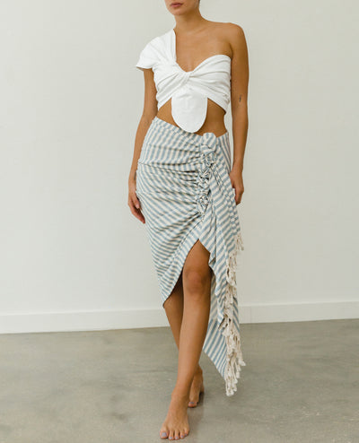 Tulum Skirt Denim and Cream