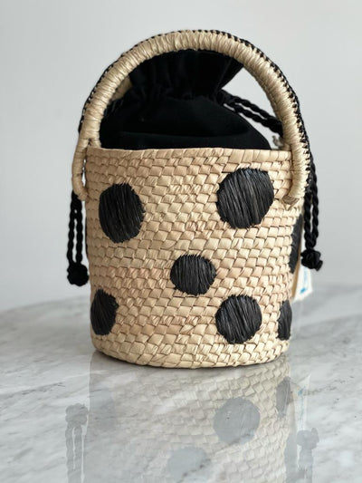 Raffia Dots Bucket Bag Black - Boho Hunter