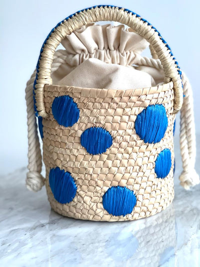 Raffia Dots Bucket Bag Blue - Boho Hunter