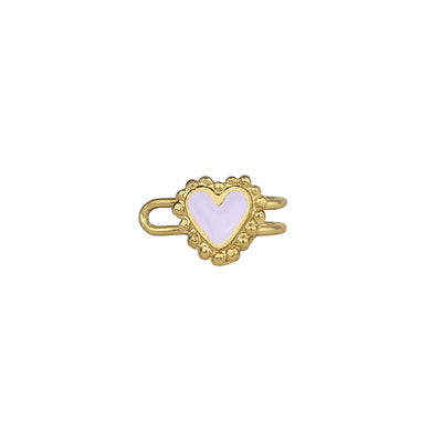 Beating Heart Gold Earcuff White - Boho Hunter