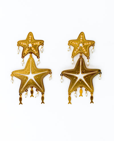 Golden Starfish with Fishes Earrings - Boho Hunter