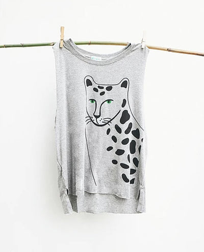 T-Shirt Cheetah Face Grey