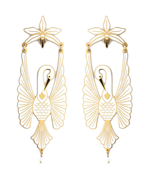 White Heron Earrings