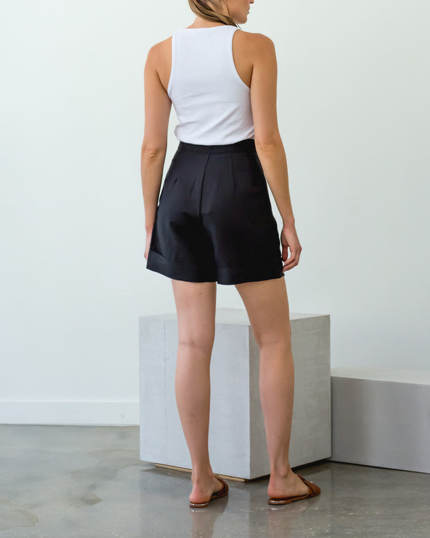 Pegged Shorts Black Linen - Boho Hunter