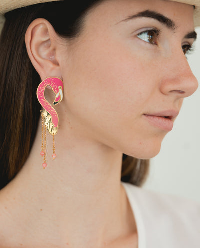 Statement Flamingo Earrings - Boho Hunter