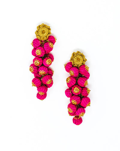 Canastos Cristal y Paja Bolas Earrings Fucsia
