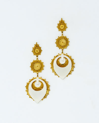 Damasque Gold Plated Ivory Acrylic Earrings