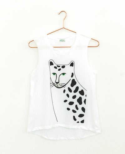 T-Shirt Cheetah Face White