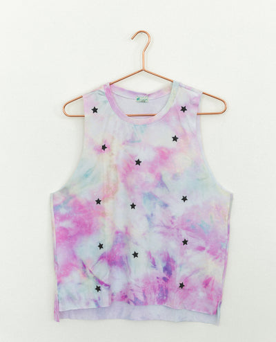 T-Shirt Tie Dye Pink Mini Black Stars