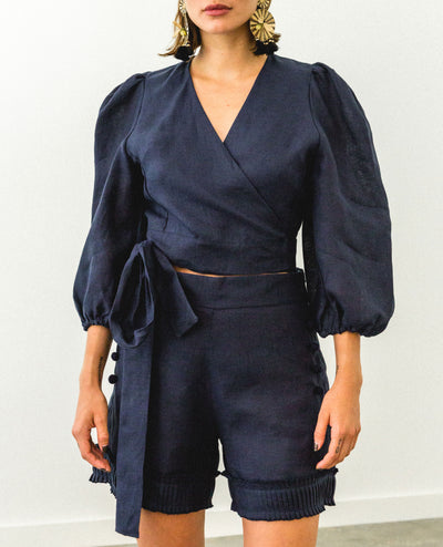 Lupe Front Bombacho Top Navy Blue