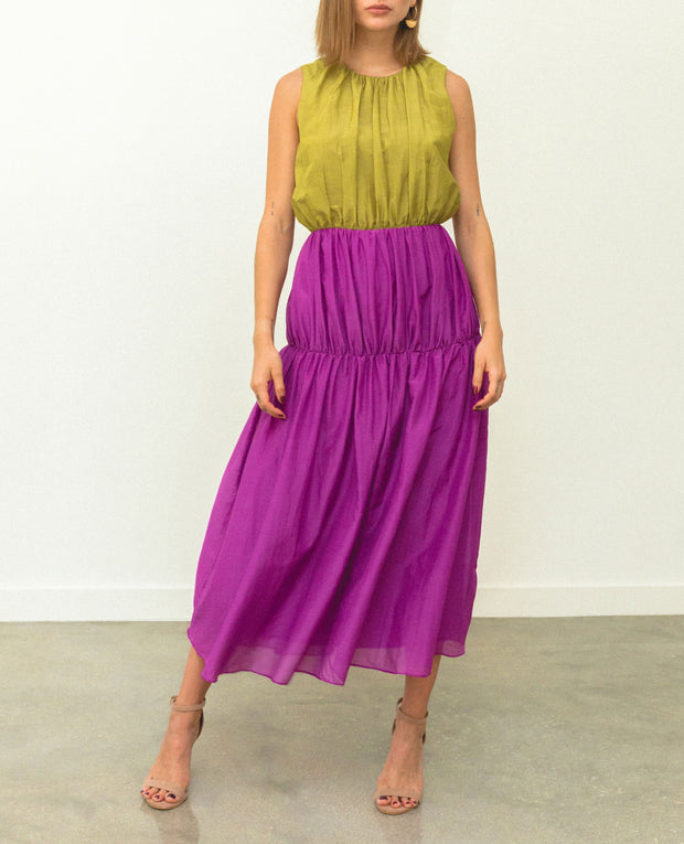 Purpura Dress Lime & Fucsia