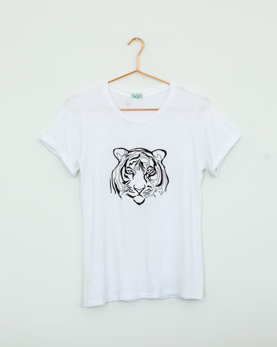 Embroidery Tiger White