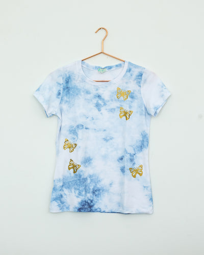 Tie Dye Blue With Gold Papillons