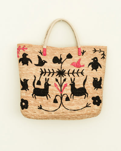 Beach Bag Otomi Animals Black - Boho Hunter