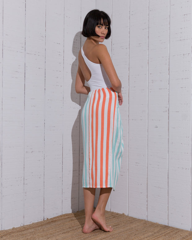 Lara  Two Tone Skirt  Orange/ Aqua - Boho Hunter