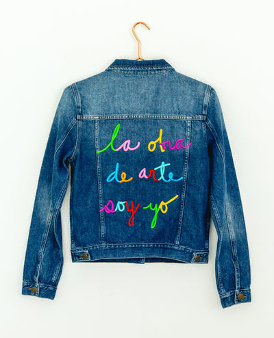 "Classic ""La Obra de Arte Soy Yo""  Multicolors Denim Jacket - Boho Hunter"