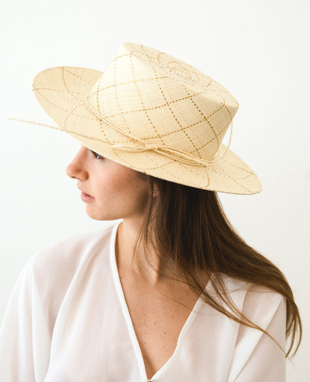 Panama Hat Natural/Gold Lines