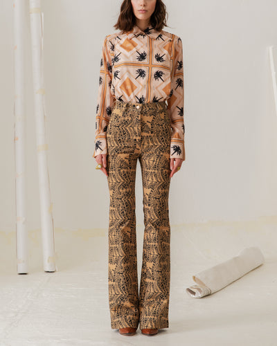 Punta Ballena Pants Ethnic Feathers Gold - Boho Hunter