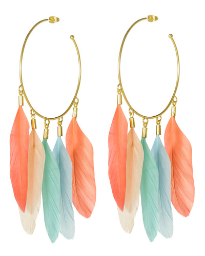 Feathers Candongas Earrings Salmon-Blue - Boho Hunter
