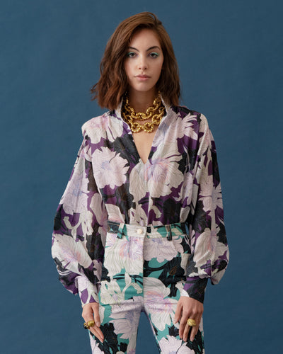 Esmeralda Top Floral Art Violet - Boho Hunter