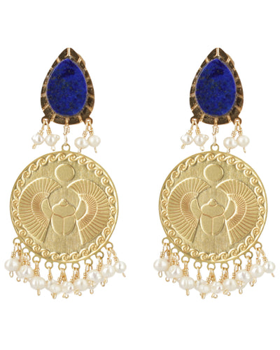 Lapis Lazuli and Pearls Beetle Coin Earrings - Boho Hunter