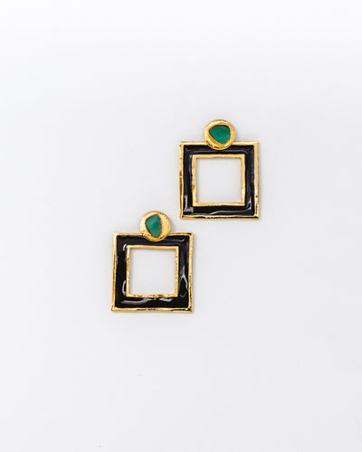 Small Square Earrings Black