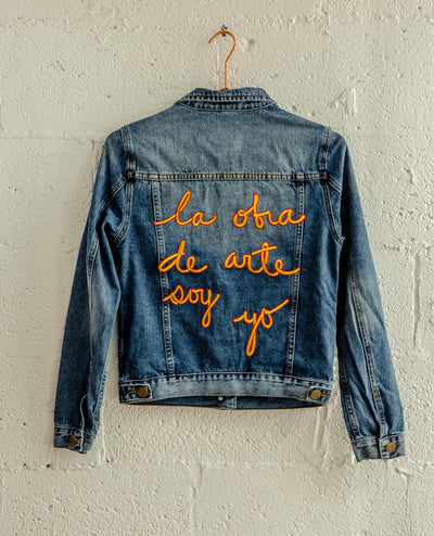 "Classic ""La obra de Arte Soy Yo"" Denim Jacket Gold and Red"