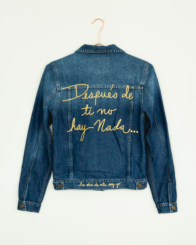 "Classic ""Despu??s?ÿde Ti No Hay Nada"" Gold Denim Jacket"