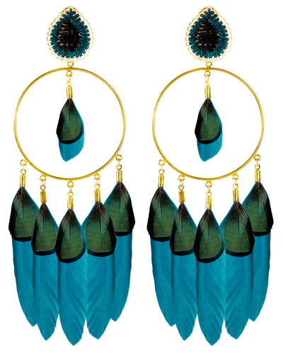 Petroleum Blue Midday Sun Earrings - Boho Hunter