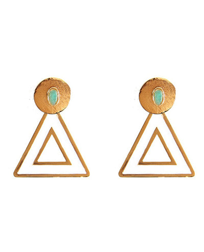 Small Triangle Earrings White