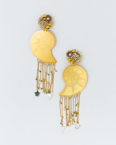 Gold Shells Long Pearls Earrings