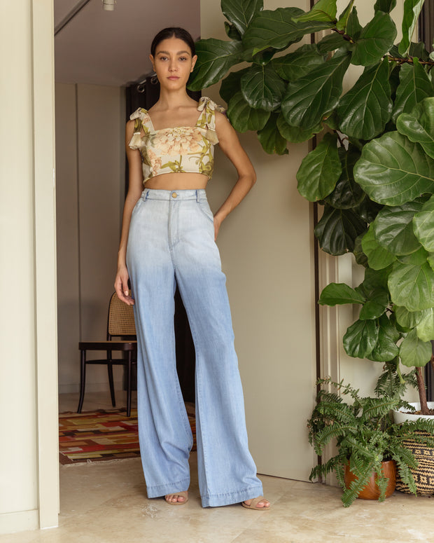 Crop Top Delfina Loro Blue - Boho Hunter
