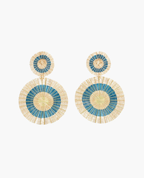 Disc Blue & Gold Earrings