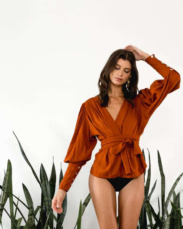 Claude Blouse Rust - Boho Hunter