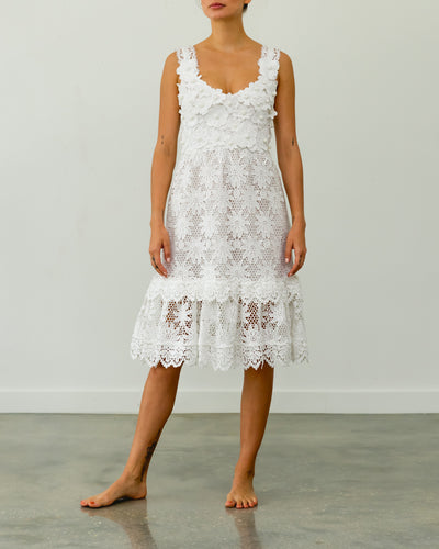 Dalia Guipure Midi Dress Lace White - Boho Hunter