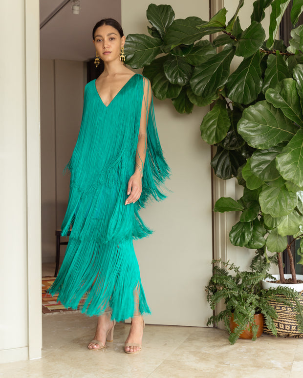 Lucero Dress Emerald Green - Boho Hunter